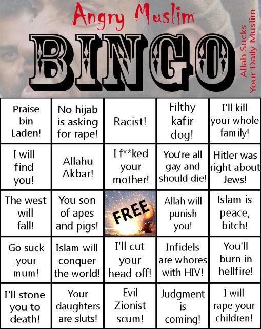 Angry Muslim Bingo