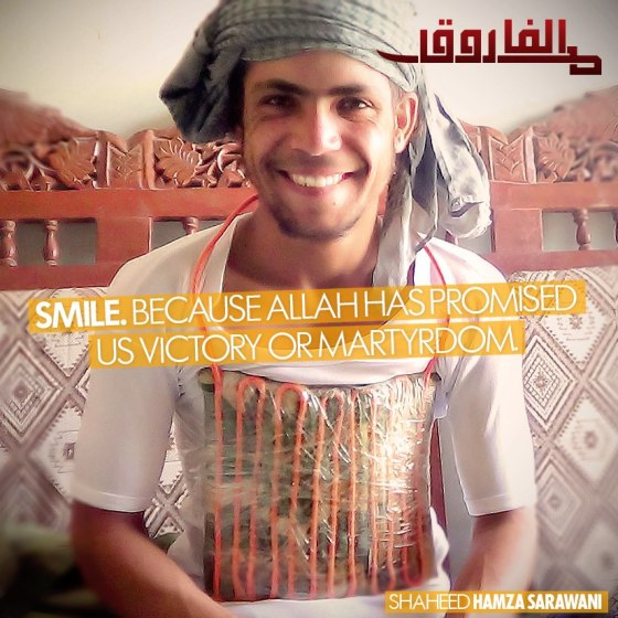 An image released by jihadist press group al-Farooq Media of the deceased Hamza Sarawani
