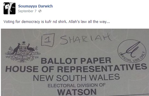"""Brothers and sisters voting in this weekends democratic election is HARAM!!!"" Darwich also wrote. Muslims are taught that supporting non-Muslim governments is forbidden (haram)."