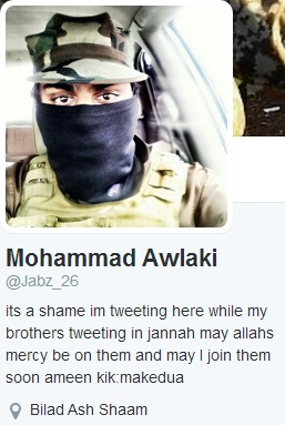 Ismail Jabbar used the name Mohammad Awlaki on Twitter