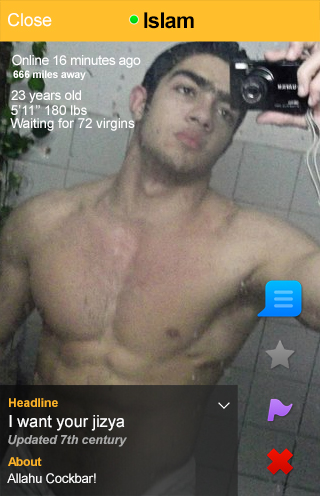 Rule #1 of Grindr selfies: Clean your mirror! (For those unfamiliar, Grindr, the app I templated Yaken's picture into, is the gay hookup app used by Islamic serial killer Muhammed Ejaz)