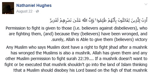 Hughes uses the Qur'an to justify his violent, jihadist beliefs. A mushrik is someone who worships something aside from Allah in the capacity of idolatry/polytheism.